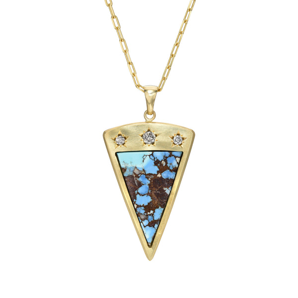 TURQUOISE AND DIAMONDS SET IN 14K YELLOW GOLD NECKLACE