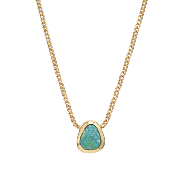 TURQUOISE SET IN 14K YELLOW GOLD NECKLACE