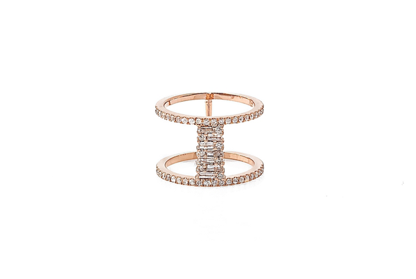 MOSAIC SET BAGUETTE DIAMONDS IN 14K ROSE GOLD