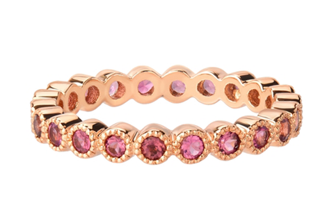 BIRTHSTONE BANDS SET IN 14K ROSE GOLD SETTING