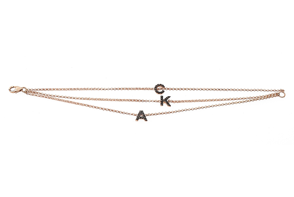 14K ROSE GOLD INITIAL BRACELET SET W. INVERTED BLACK DIAMONDS