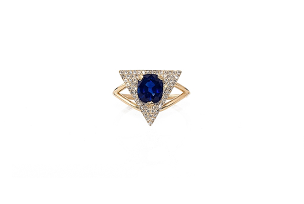 VINTAGE 3CT SAPPHIRE SET IN 14K YELLOW GOLD + DUSTED W. DIAMONDS