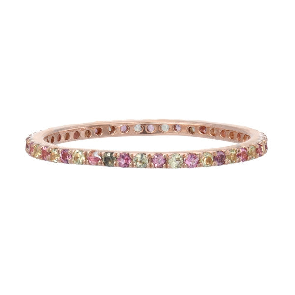 TOURMALINE AND PARIDOT BIRTHSTONE BAND IN 14K ROSE GOLD