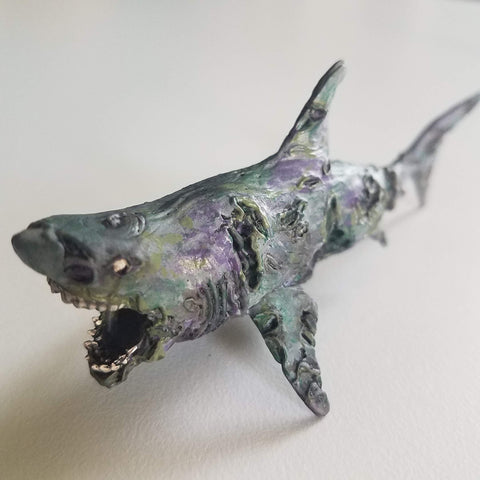 Zombie Shark D&D Painted Miniatures - Rissa Whalen - Rose and Shadow
