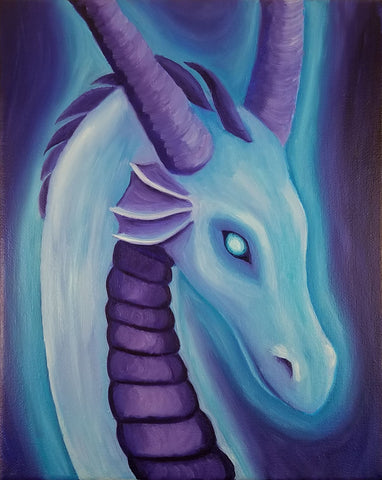 Astral Dragon 8x10 Oil on Canvas - Rissa Whalen - Rose and Shadow