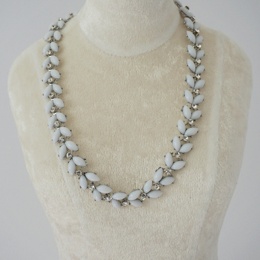 Pearly Blue Statement Necklace