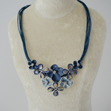 Coral Blue Flower String Necklace