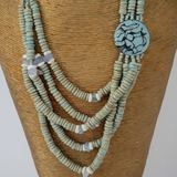 Pastel Green Beaded Long Necklace