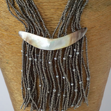 silverish grey beaded necklace