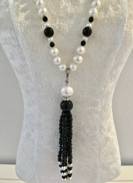 Onyx and Pearl, Removable Tassel Necklace