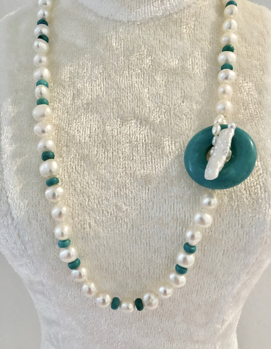 Pearl and Turquoise with Fresh Water Pearl Clasp
