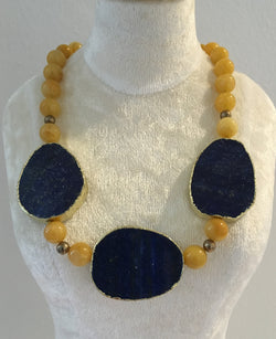 Yellow and Navy Agate Necklace