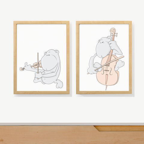 STRING MONKEY DUET | Two set art prints