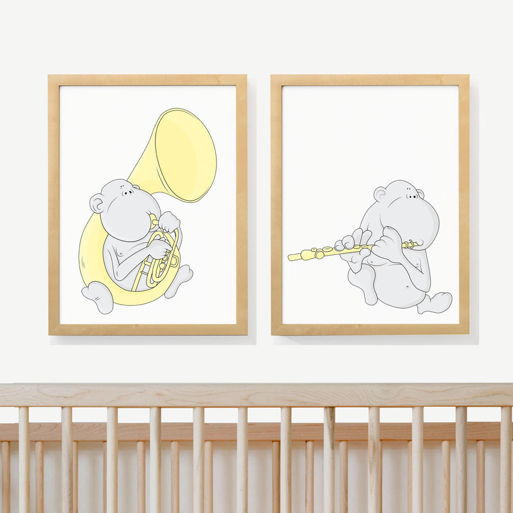 WIND MONKEY DUET | Two set art prints