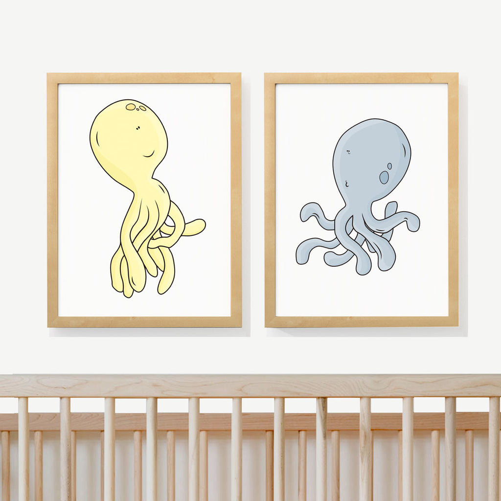 OCTOPUS FUN | Two set art prints