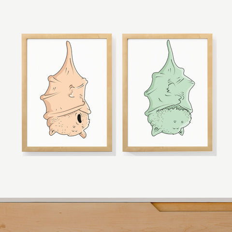 SLEEPY BATS | Two set art prints