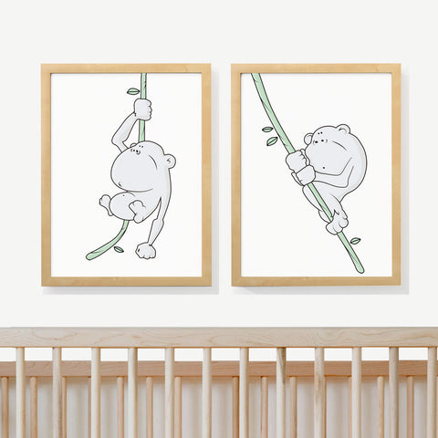 MONKEY FUN | Two set art prints