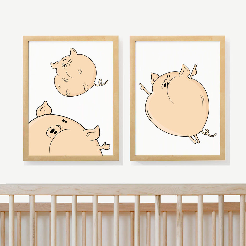 BALLOON PIGS | Two set art prints