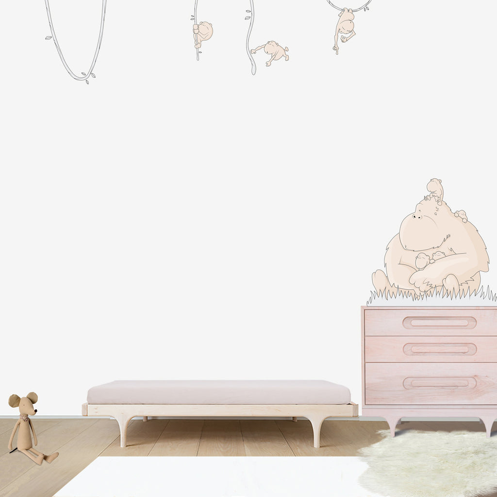 Gorilla Family Large wall decal for kids' room wall vinyl, kid room design ideas, kid decor