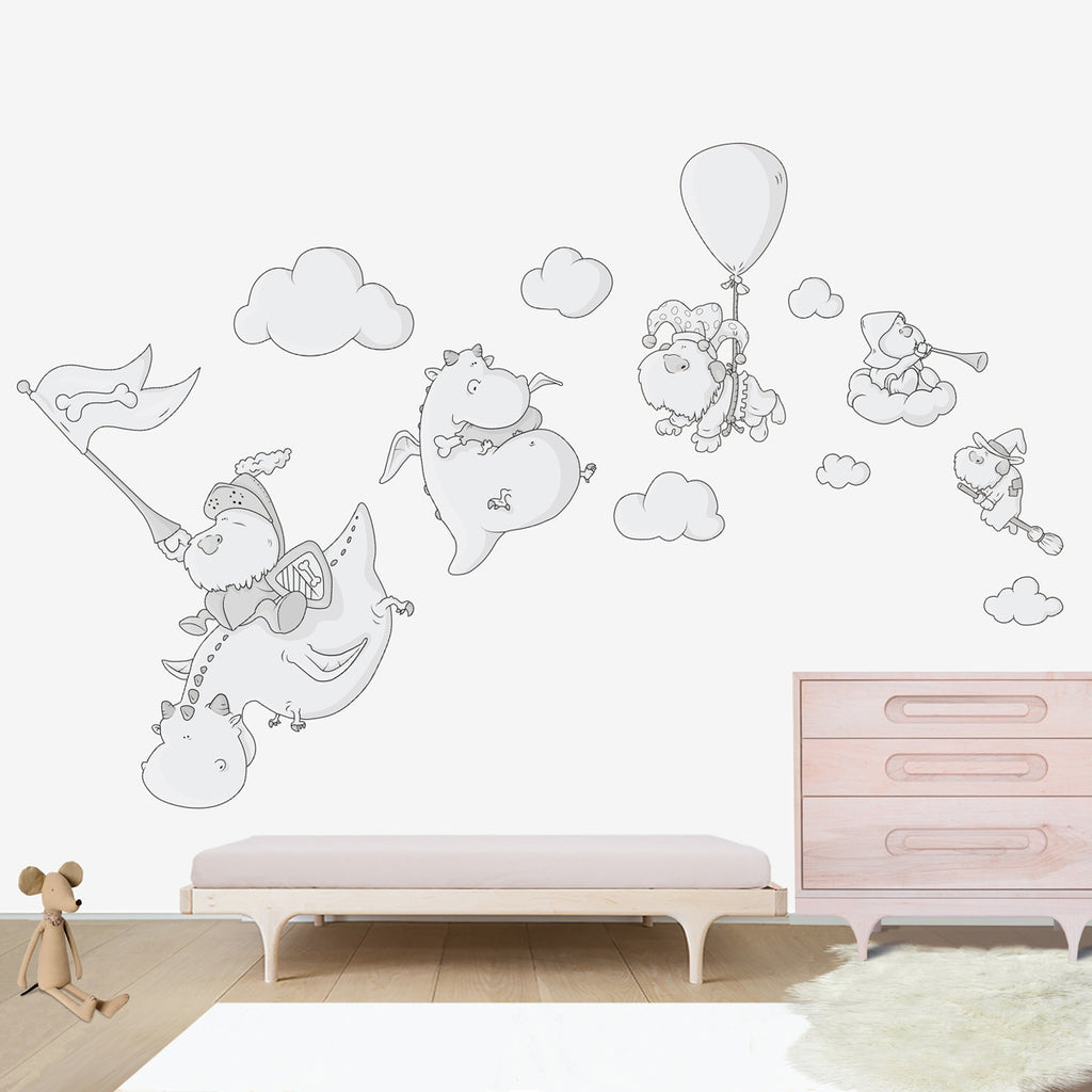 Dogs and Dragons Large wall decal for kids' room wall vinyl, kid room design ideas, kid decor