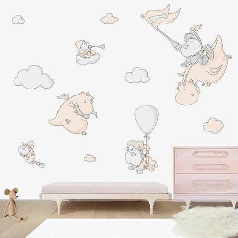Dogs and Dragons Large wall decal for kids' room wall vinyl, kid room design, kid decor