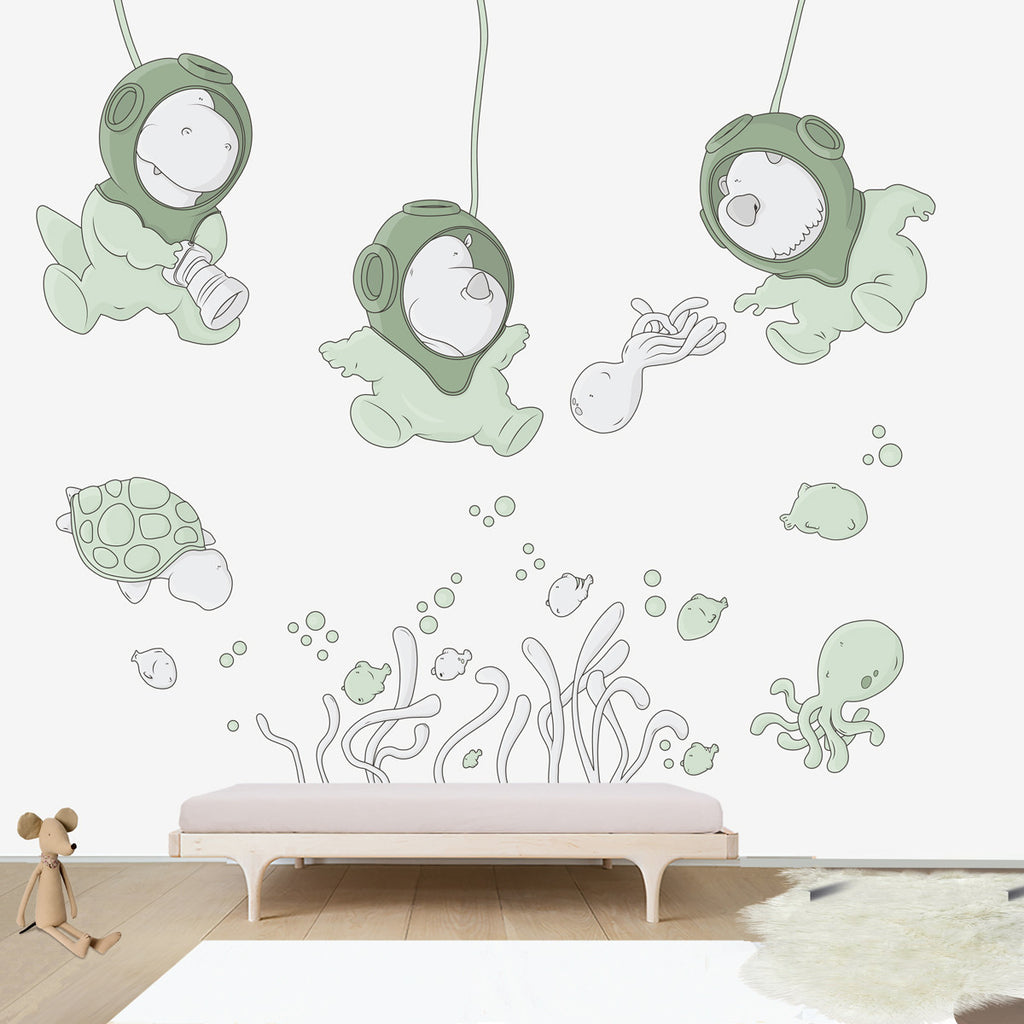 Submarine World Large wall decal for kids' room wall vinyl, kid room design ideas, kid decor