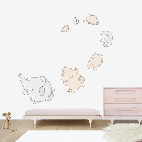 Air Pachyderms Large wall decal for kids' room wall vinyl, kid room design ideas, kid decor