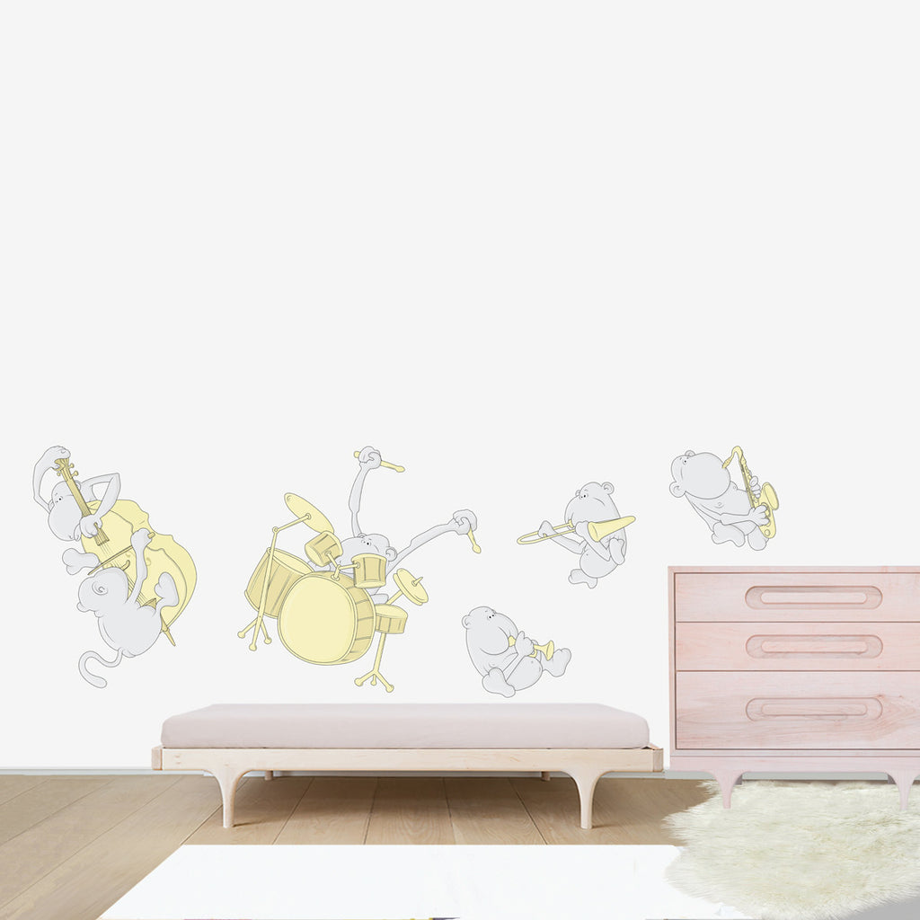 bubbles and bubbles wall decal non vinyl PVC free jazz band kids decor