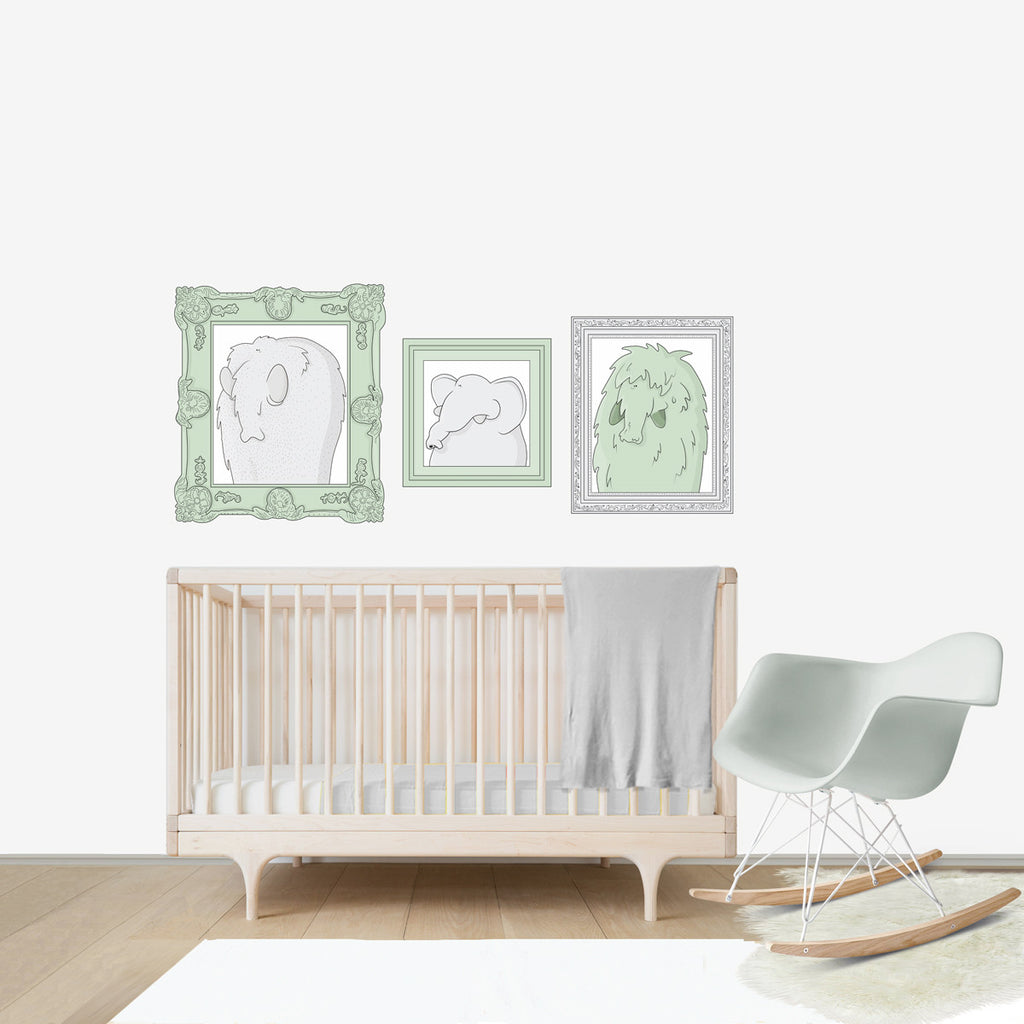 Elephant Family Portraits Large wall decal for kids' room wall vinyl, kid room design ideas, kid decor