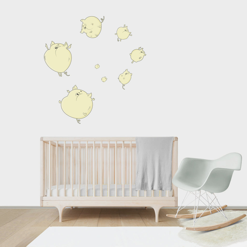 Large wall decal for kids' room wall vinyl, kid room design ideas, kid decor, Balloon Pigs