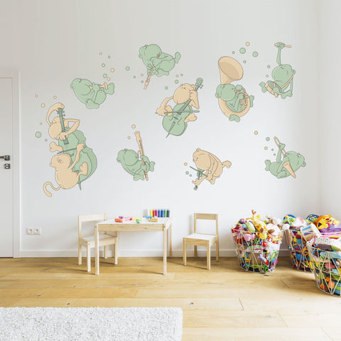 MONKEY MUSIC BAND | Wall decal for schools