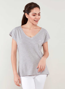 Long Tail Striped Organic Cotton T-Shirt