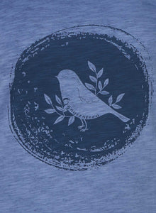 Bird Print Dyed T-Shirt
