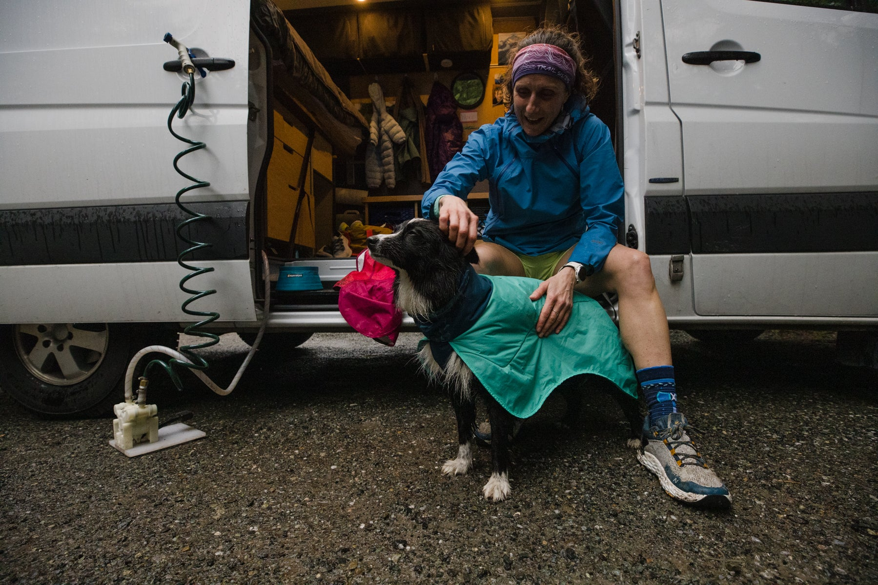 Krissy dries PD with the Dirtbag Dog Towel before heading back into their van
