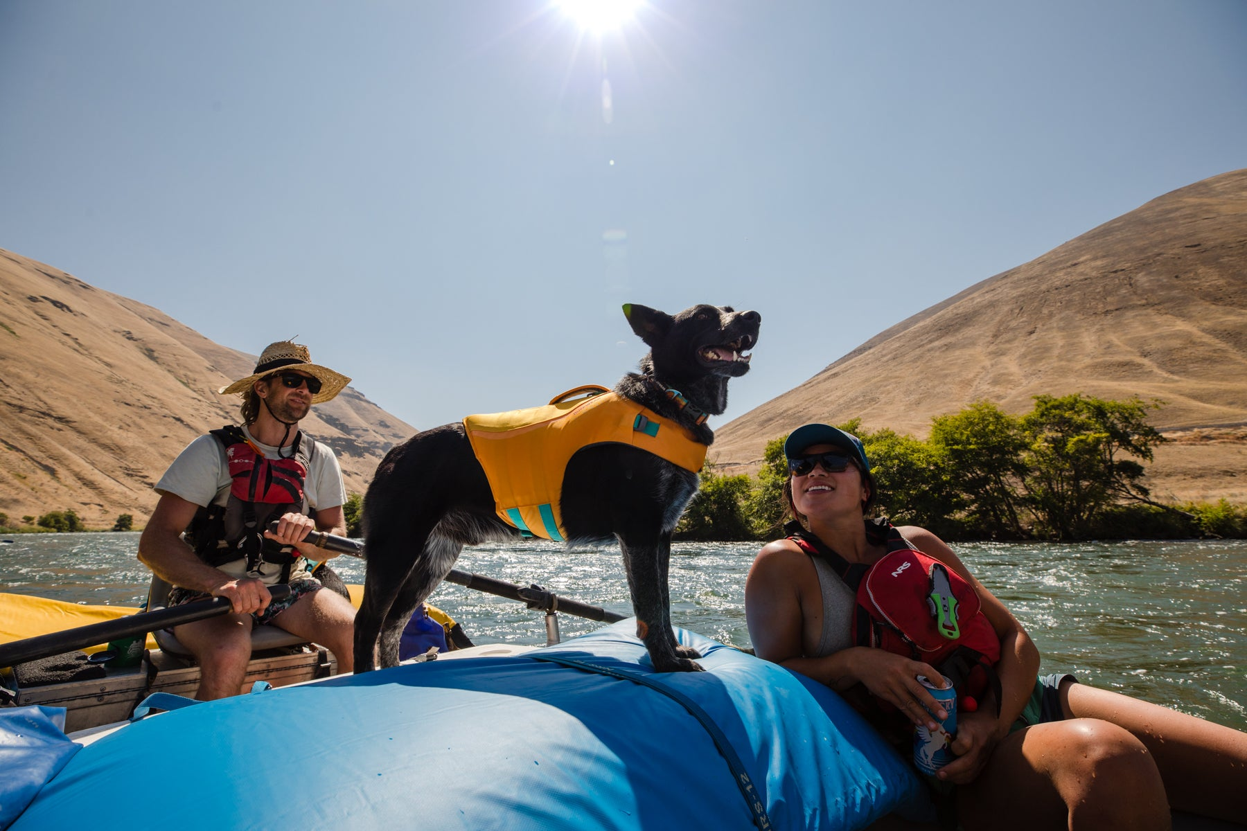 Bernie in float coat dog life jacket stands majestically in center of raft.