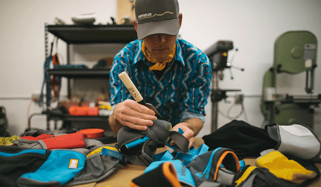 Product designer Timothy working on patterning of the Trail Runner Belt