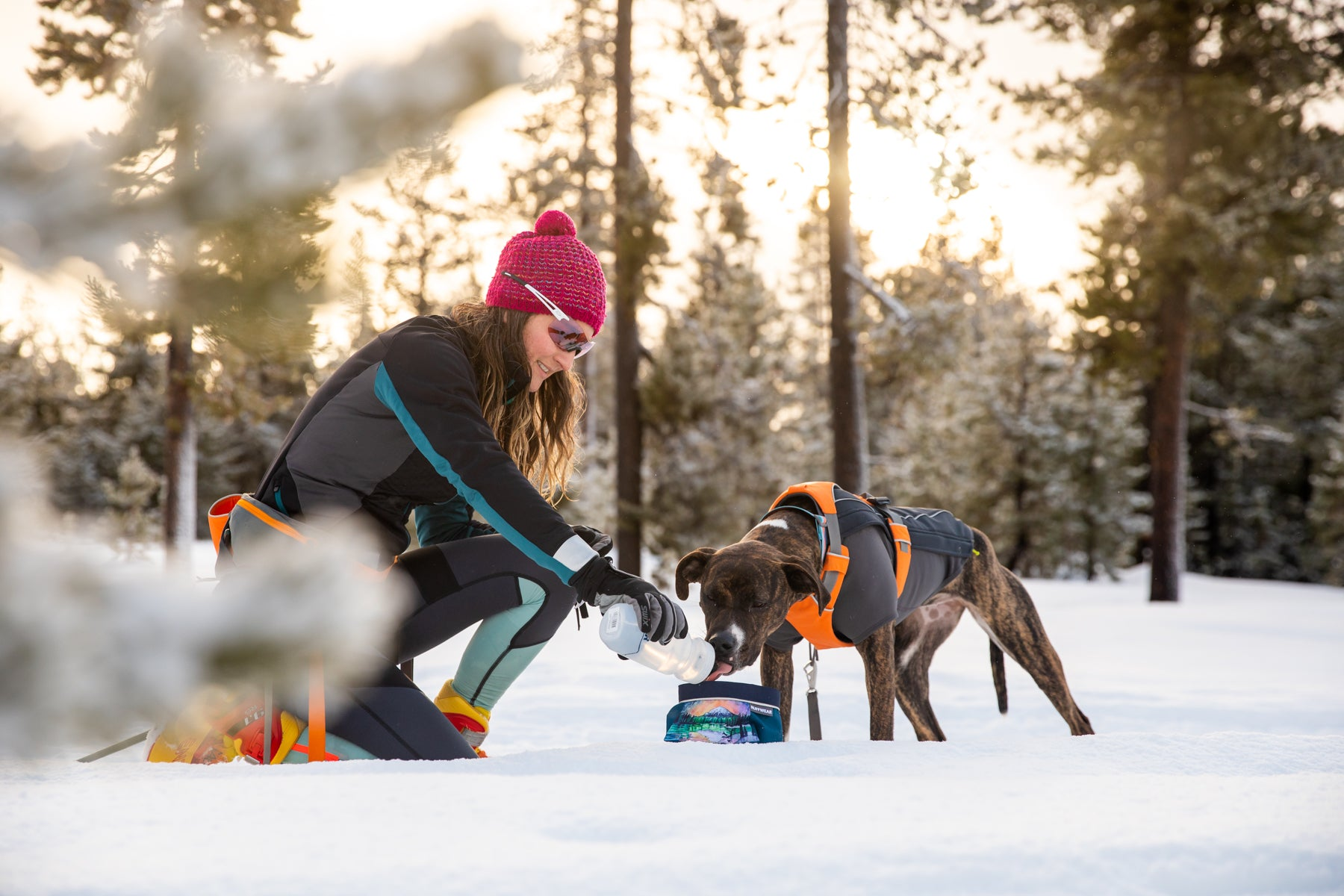 Kelly pours water into a quencher portable dog bowl for Juniper while ski joring.