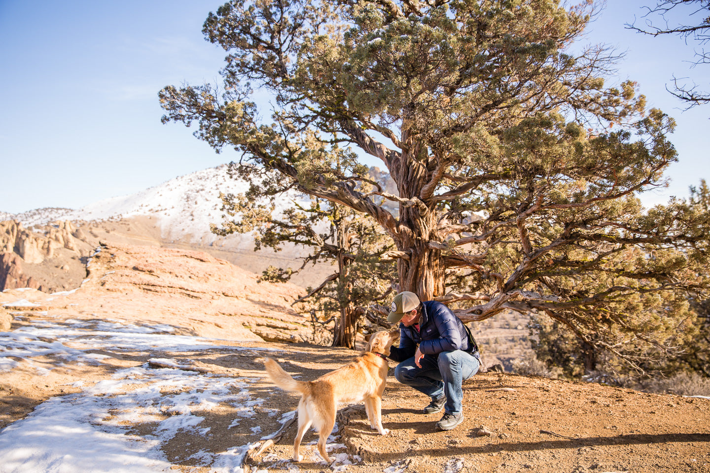 Picture of David and his Dog Ginger out in a desert scene