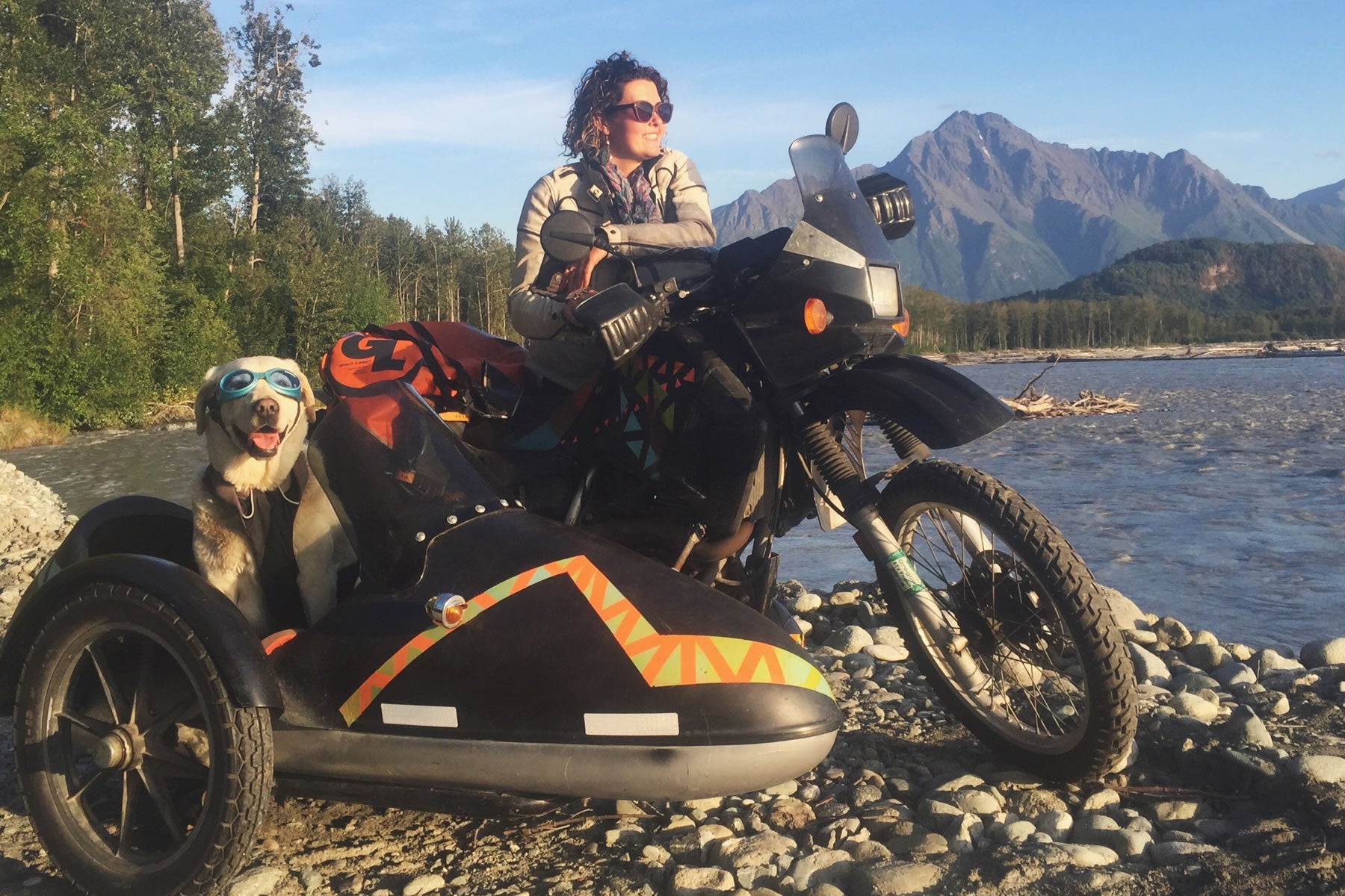 Baylor in doggles and load up harness in sidecar of Mallory's motorcycle in the mountains..