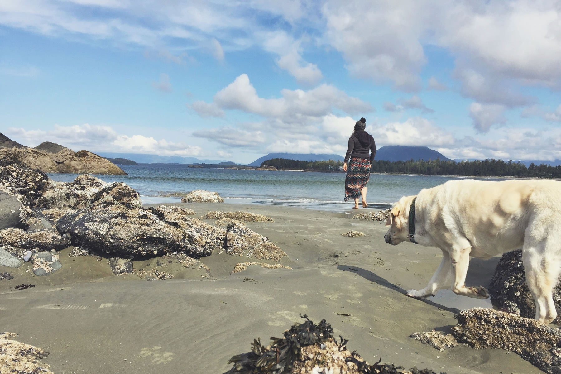 Baylor and Mallory explore tide pools on the beach.