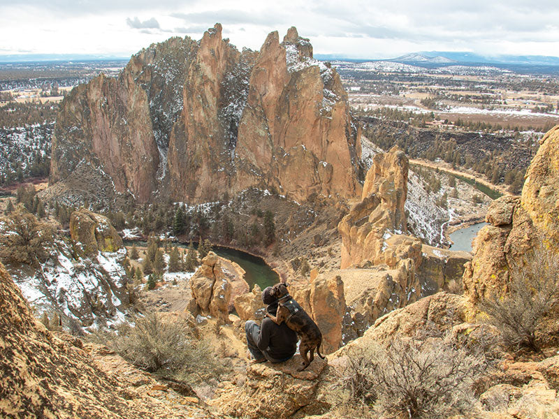 Kahlua in webmaster harness gives trevor a hug from behind up high on rocks at Smith Rock.