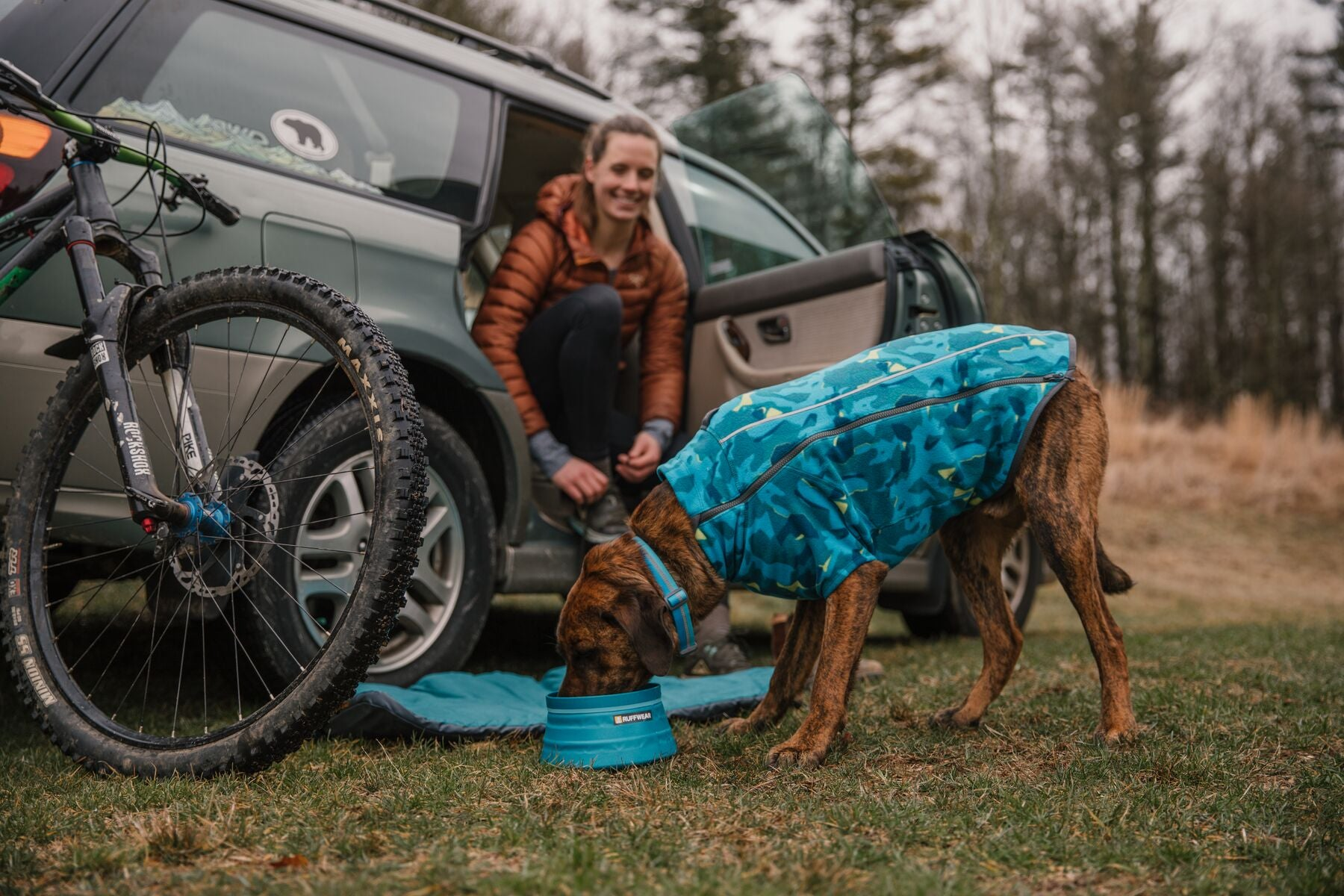 Dog in glacier print climate changer fleece drinks out of bivy bowl next to car after bike ride.