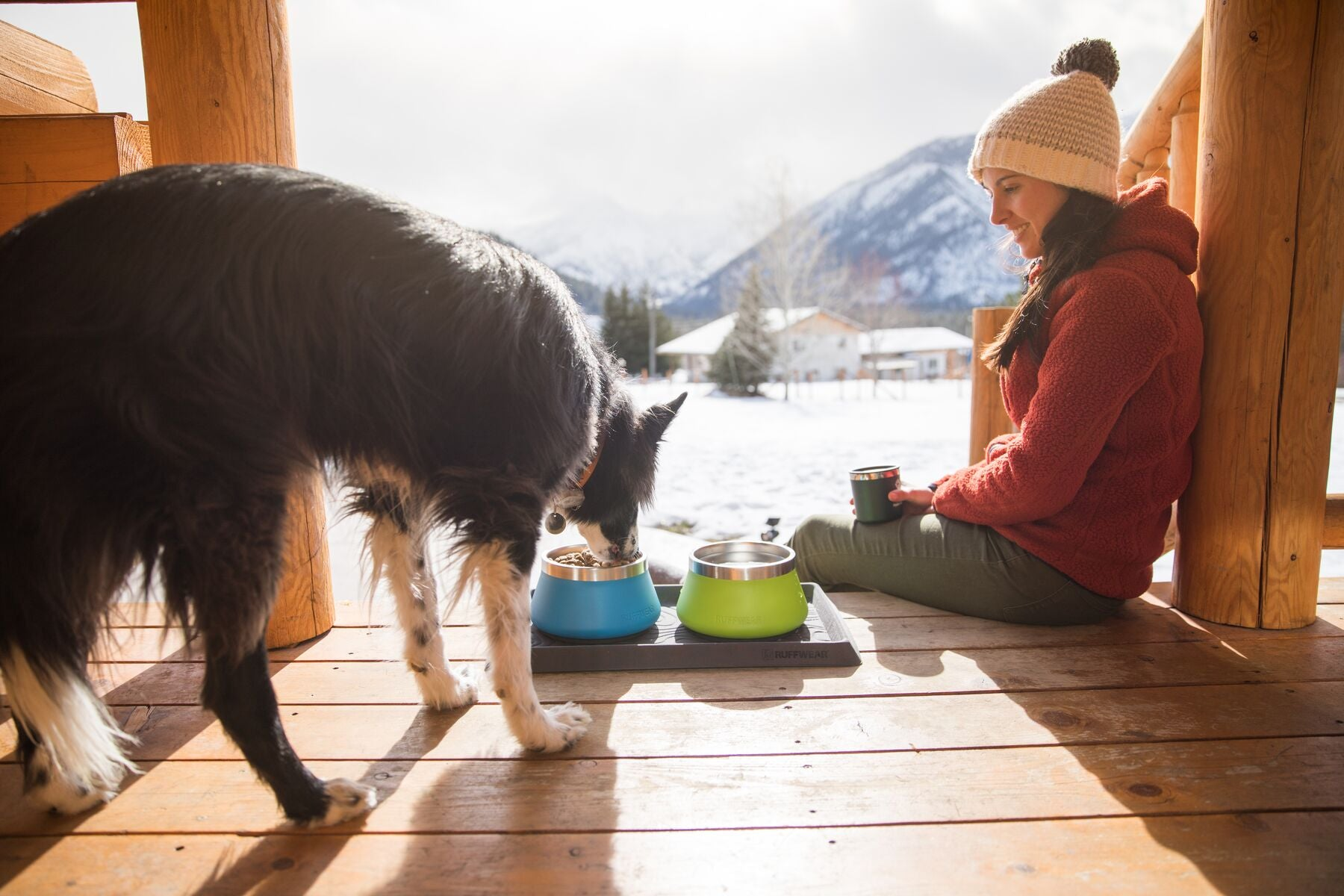 Dog eats out of basecamp bowls on the porch of a cabin.