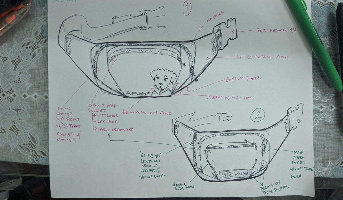 Initial sketch up of home trail hip pack.
