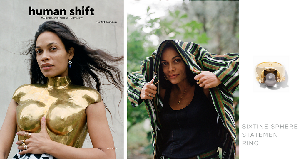Rosario Dawson cover story in February issue o f Human Shift Magazine. Featuring Via Saviene Sixtine Sphere Statement Ring