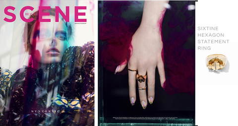Design Scene Magazine December 2019 featuring Via Saviene Sixtine Hexagon Statement Ring