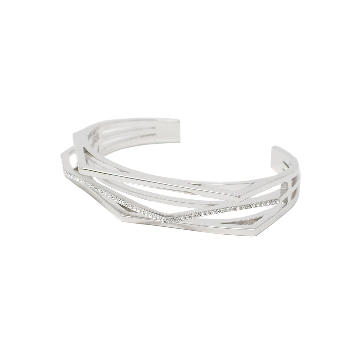 Aris Pave Cut-out Cuff - Rhodium