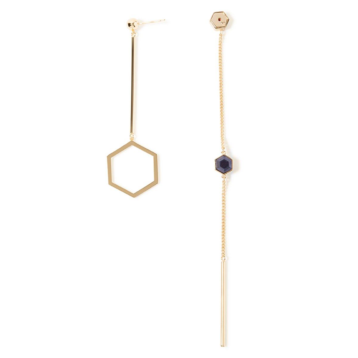 Colette Semi-precious Mismatch Earrings - Gold