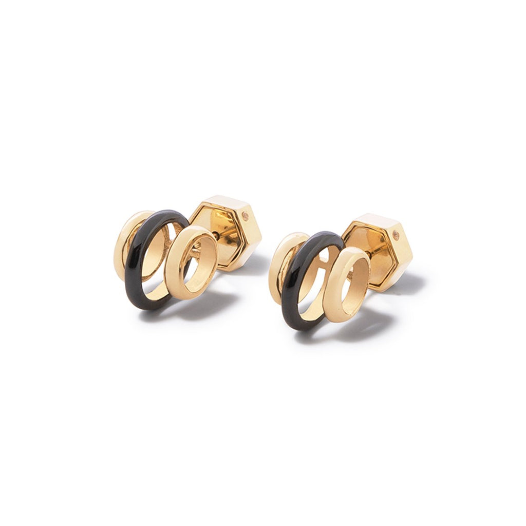 Cira Three Band Studs - 2 Tone Gold and Hematite