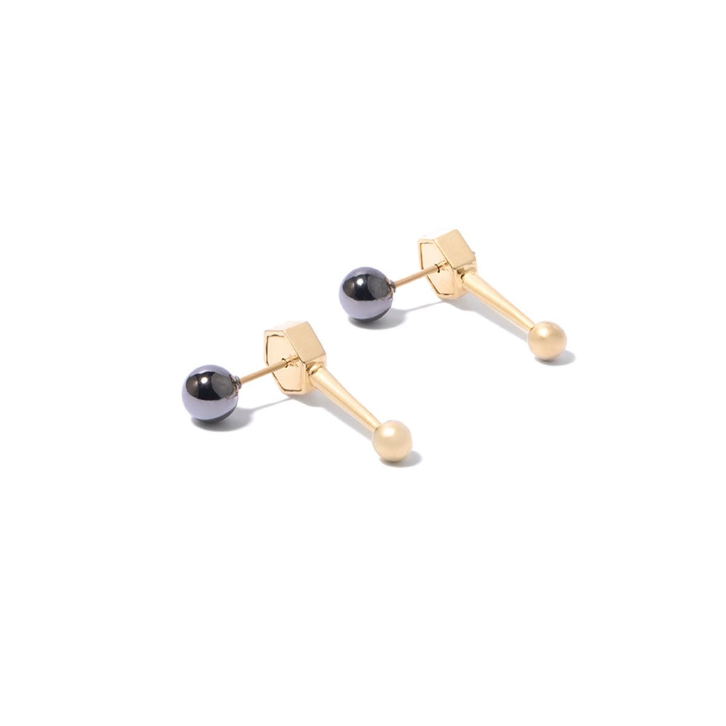 Sixtine Sphere Ear Jackets - 2 Tone Gold and Hematite